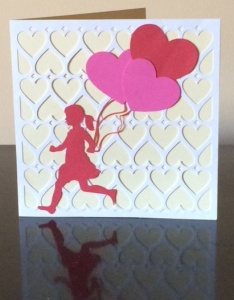 Girl with Heart Balloons Card