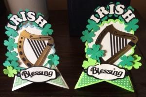Two Irish harp cards