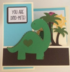 dinosaur card folded